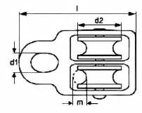 Блок такелажный двойной (двухшкивный) для каната, троса