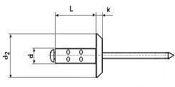Заклёпка плоская многозажимная вытяжная